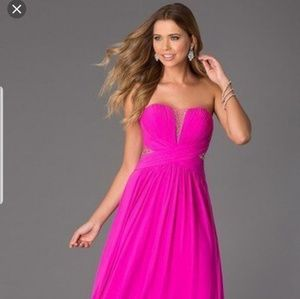 JVN JOVANI PINK ILLUSION prom pageant dress gown 0